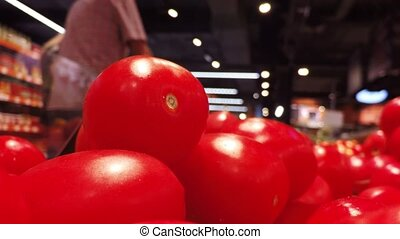 Mature tomatoes at the store