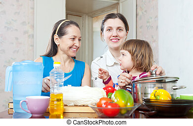 Mature woman and daughter with baby in kitchen