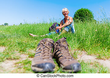 mature woman at a hiking rest