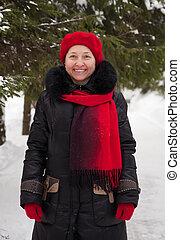 mature woman at winter park