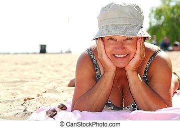 Mature woman beach