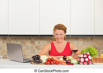 Mature woman cooking