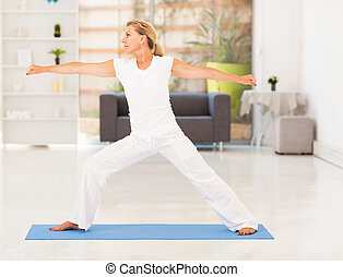 mature woman doing fitness exercise