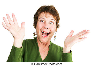 Mature Woman - Ecstatic - Humorous photo of a mature woman...