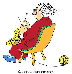 Elderly woman knitting a sock on the needles. Vector illustration of a format EPS.