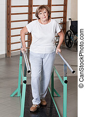 Mature Woman having ambulatory therapy
