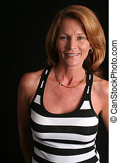 Mature woman in stripes