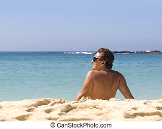Mature Woman in the Beach