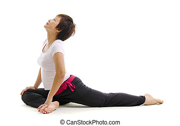 Mature woman in yoga - Mature Asian woman in yoga, isolated...