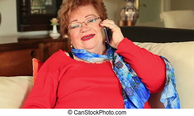 Mature woman on phone