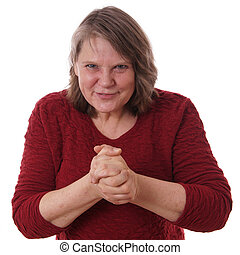 mature woman rubbing hands