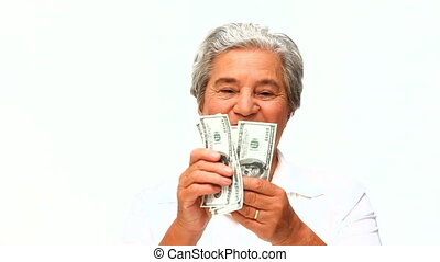 Mature woman showing her money