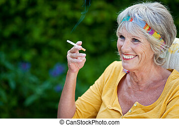 mature woman smoking