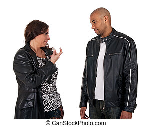 Mature woman trying to seduce a young guy