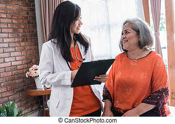 mature woman visitting doctor