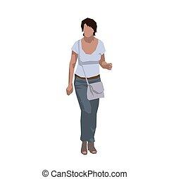 Mature woman walking, isolated flat design vector illustration