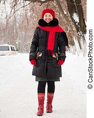 mature woman wearing winter coat
