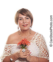 mature woman with flowers
