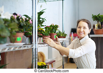 mature woman with Schlumbergera plant