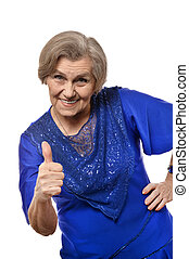 mature woman with thumb up