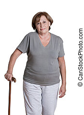 Mature Woman with Walking Stick
