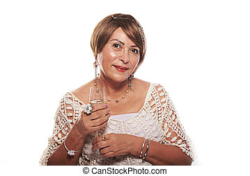mature woman with wine glass