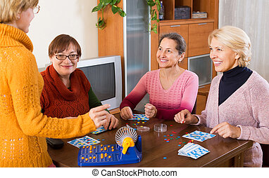 Mature women with table game