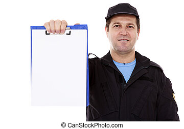 Matured male indicating down at whiteboard isolated over white