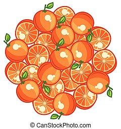 maturo, arance, stilizzato, disegno, fondo, fresco