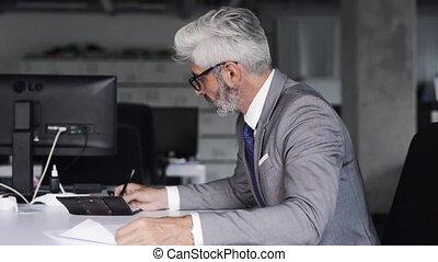 maturo, uomo affari, in, abito grigio, in, il, ufficio.