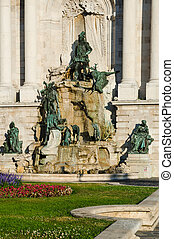 Matyas Fountain, Budapest - Budapest landmark, Hungary. King...