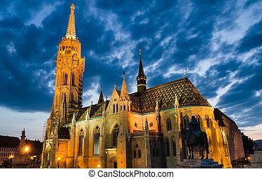 Matyas or Matthias Church in Budapest, twilight. - Matthias...