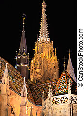 Matyas Temple at night in Budapest - Steeples of the Matyas...