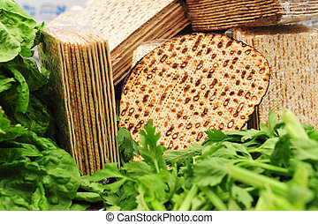 Matza for Passover - A variety of different types of matza (...