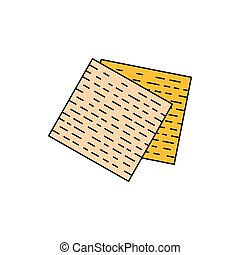 Matza icon, cartoon style - Matza icon. Cartoon matza vector...