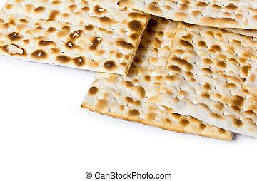 matza on white background - Matzoh, the jewish easter bread...