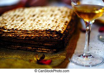Matzah and wine Passover Seder meal - Matzah (unleavened...