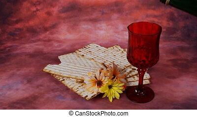 matzo Jewish Passover celebration - Background with matzo...