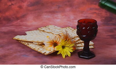 matzo Jewish Passover celebration - Background with matzo...