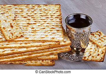 matzo with kiddush cup of wine - passover matzo with kiddush...