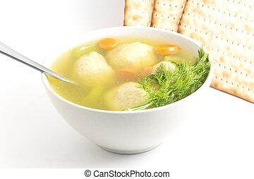 Matzoh Ball Soup - Delicious Matzoh ball soup with crackers...