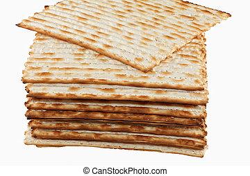 Matzo - matzot on white background. Matzo - jewish passover...
