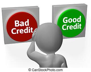 mau, bom, crédito, mostra, dívida, ou, empréstimo
