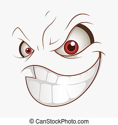 mau, caricatura, mal, sorrizo, expressão