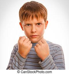 mau, valentão, menino criança, loura, zangado, agressivo,...