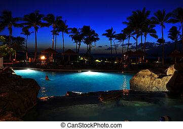 View from luxury hotel, Kaanapali, Maui, Hawaii.