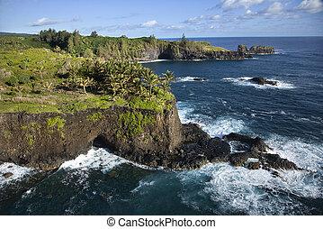 Maui coastline. - Aerial of rocky coast on Pacific ocean in...