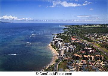 Maui coastline. - Aerial view of buildings on coastline of ...