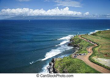 Maui coastline. - Aerial view of coastline with surfers and...