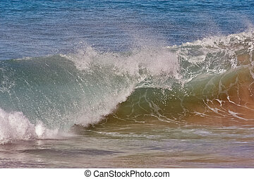 Maui Coastline big waves - Breaking waves Against the Shore...